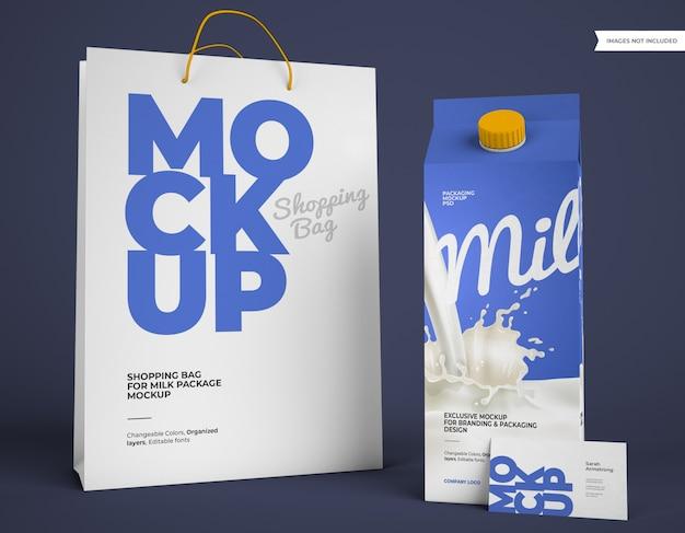 Mockup di pacchetto latte con borsa della spesa e biglietto da visita