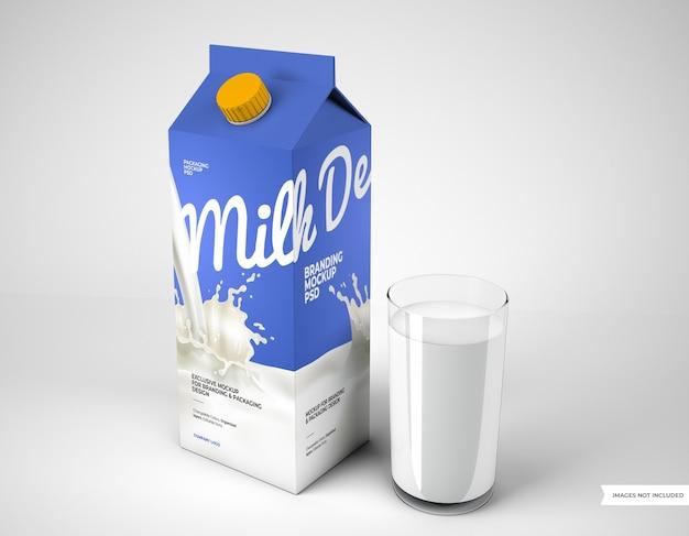 Mockup di confezionamento del latte con vetro