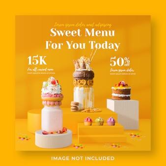 Modello di banner post instagram di social media per la promozione del menu di bevande frappè