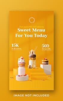Modello di banner di storia di instagram di social media di promozione del menu della bevanda del frappè