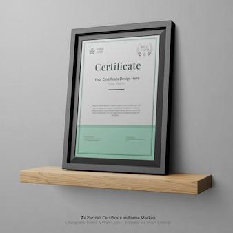 Certificato moderno minimale a4 ritratto con cornice mockup frame
