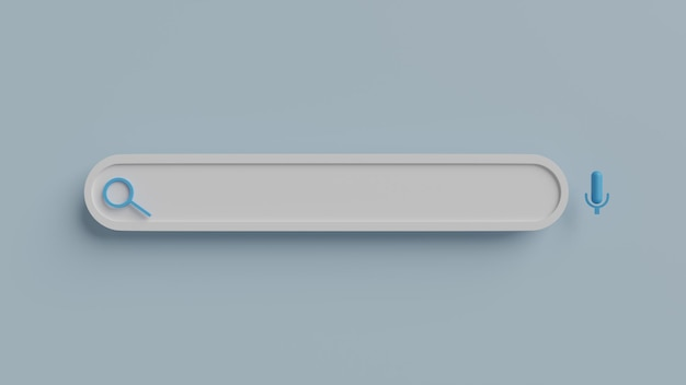 Sfondo della barra di ricerca vuoto minimo. concetto di ricerca sul web. rendering 3d