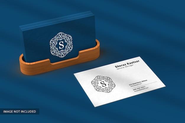 Biglietto da visita minimale con mockup di custodia in legno