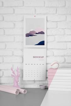 Composizione minima di mock-up del calendario