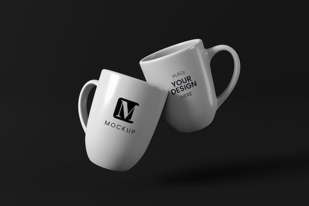Disposizione minima delle tazze da caffè Psd Premium