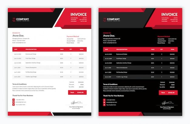 Modello minimo di fattura aziendale con luce rossa e variazione scura