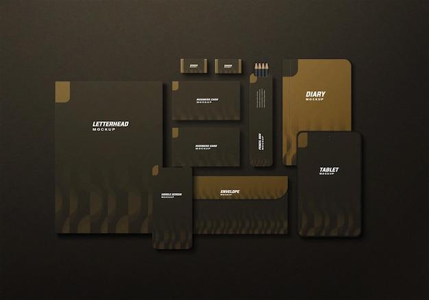 Mockup di set stazionario business minimal elegante scuro
