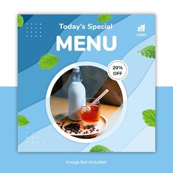 Banner modello di post social media menu cibo minimo