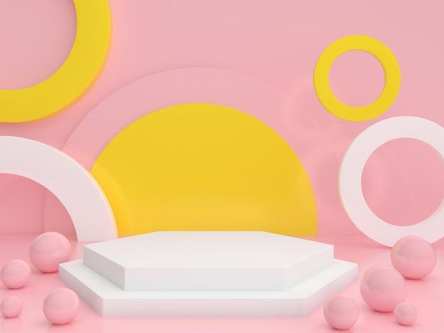 Fondo geometrico minimo di colore pastello del podio per l'illustrazione della rappresentazione di presentazione del prodotto 3d