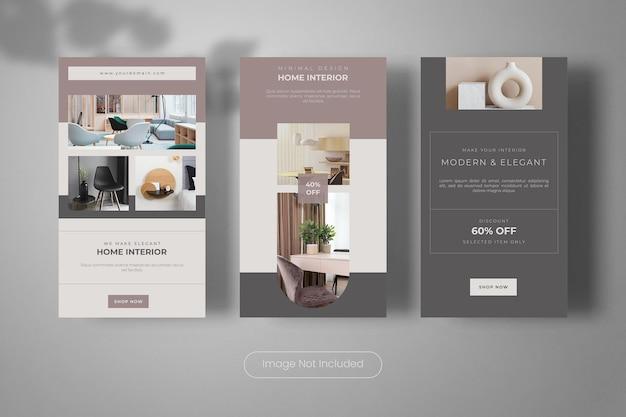 Collezione di banner modello di storie di instagram di interior design minimale per la casa