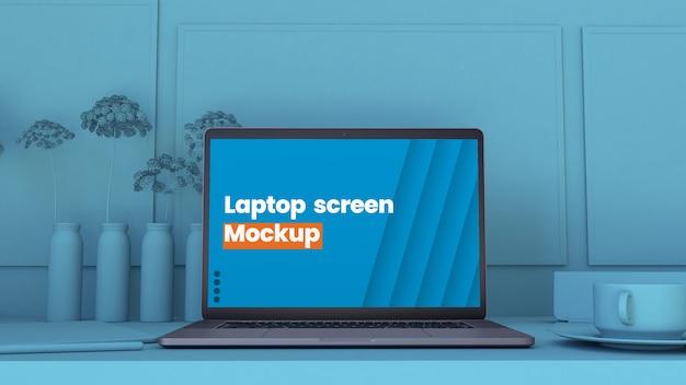 Minimal laptop scene mockup