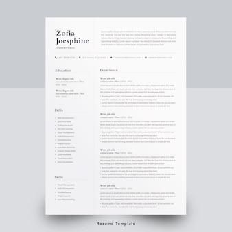 Modello di curriculum minimo di una pagina in word