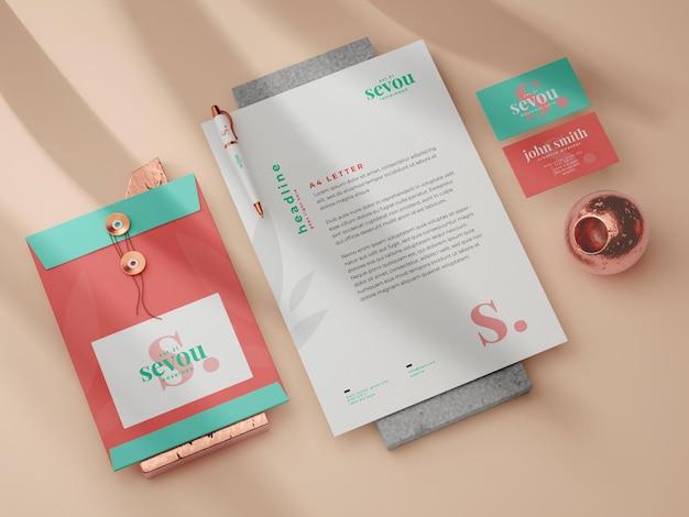 Modello mockup branding minimal pastel