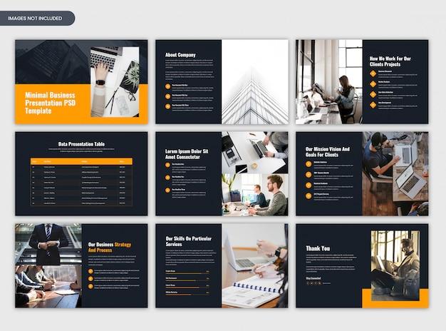 Panoramica minima del progetto e diapositive scure di presentazione aziendale