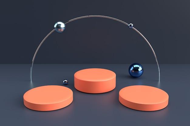 Scena minimale con podi cilindrici di forme geometriche