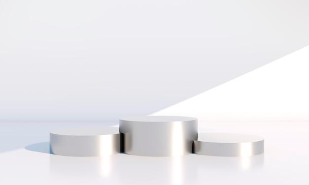 Scena minimale con forme geometriche, podi in fondo crema con ombre. scena per mostrare prodotto cosmetico, vetrina, vetrina, vetrina. 3d