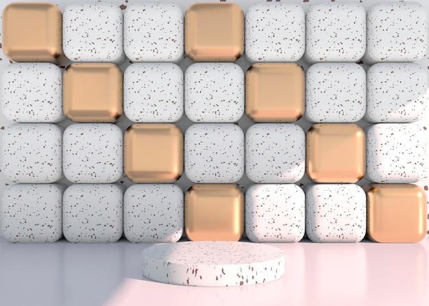 Scena minimale con forme geometriche, podi in fondo crema con ombre