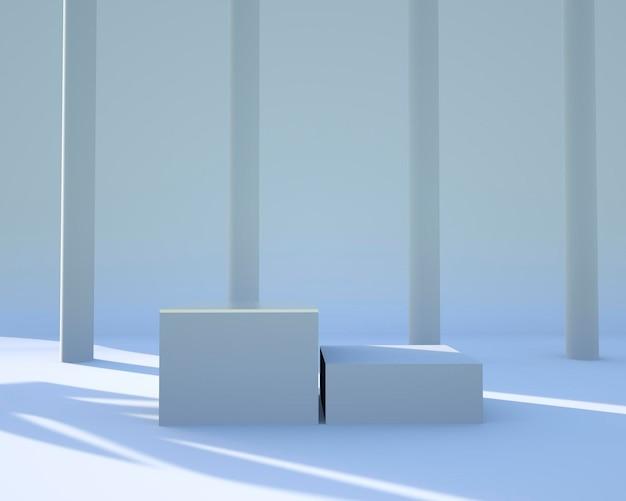 Scena minimale con podi di forme geometriche