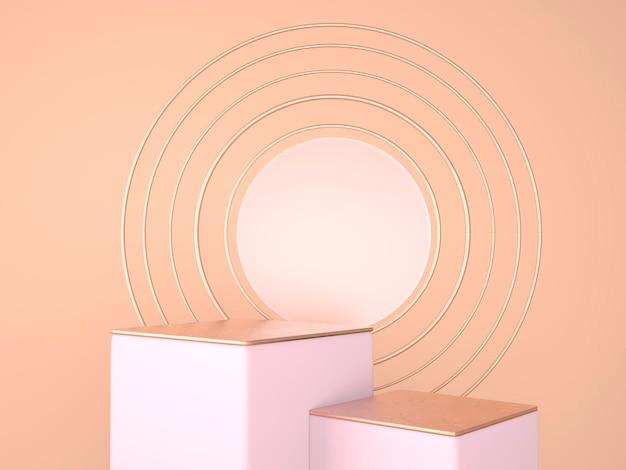 Scena minimale con rendering geometrico del podio