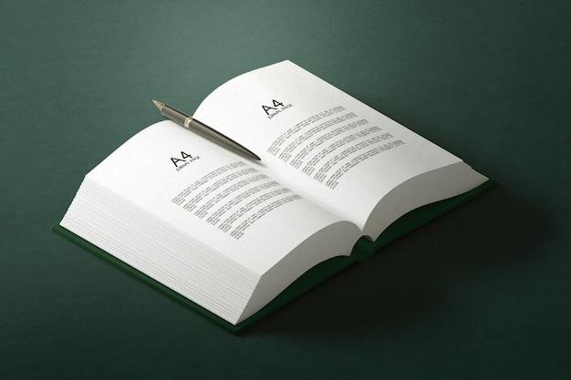 Minima copertina rigida singola con mockup di libri aperti