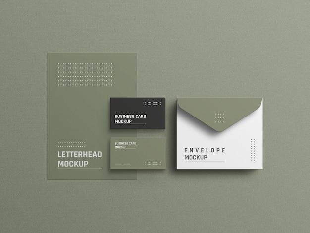Design di mockup di identità aziendale di cancelleria minimo