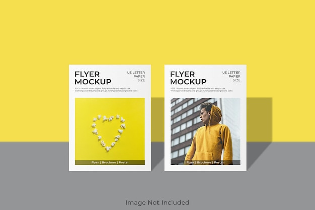 Design minimal mockup volantino lettera usa