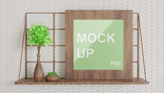 Mockup di cornice in legno singola minimalismo