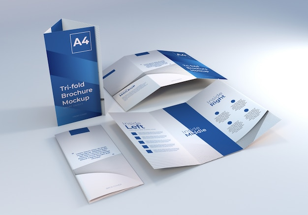 Mockup di carta per brochure a tre ante a4 minimalista