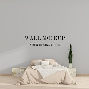 Mockup minimalista della parete della camera da letto