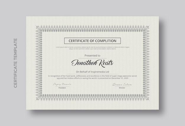 Design minimalista del modello di certificato