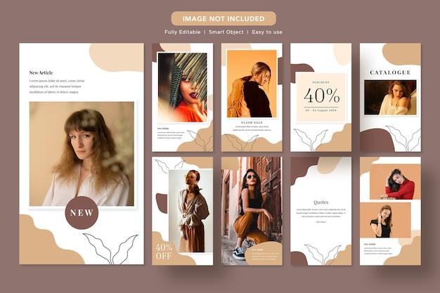 Modello instagram di banner promozionale per social media di sconto moda minimalista