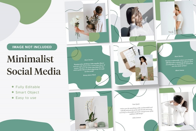 Banner post instagram social media fluido verde minimalista