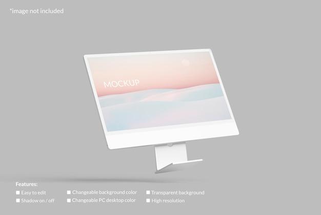 Mockup di schermo desktop minimalista per pc volante