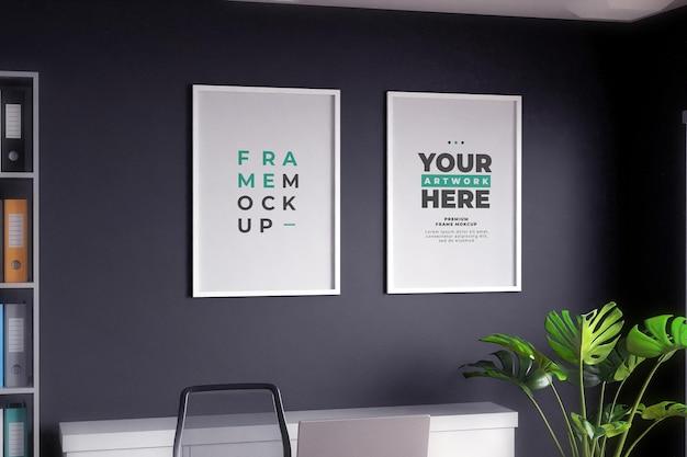 Poster mockup cornice minimalista muro nero