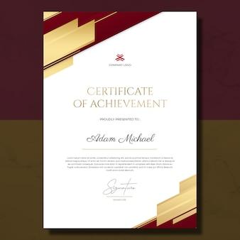 Certificato rosso oro minimalista del modello di successo