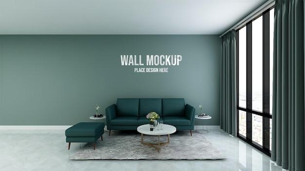 Mockup di parete della sala d'attesa minimalista dell'ufficio verde