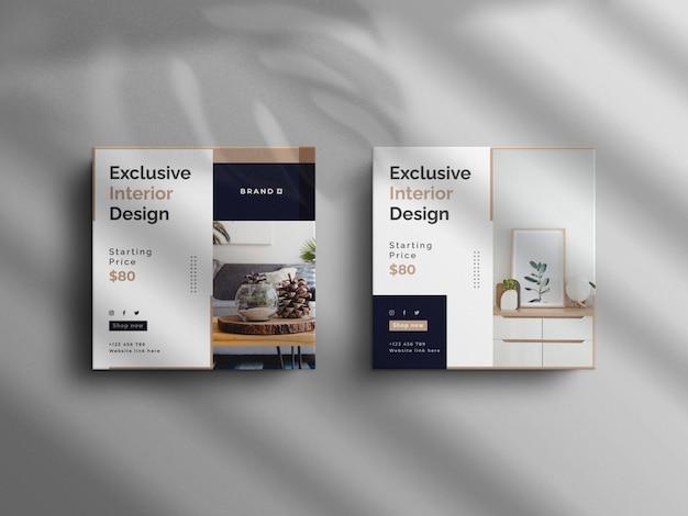 Post minimalista su instagram e banner per mobili interni square real estate con un mockup di lusso luxury