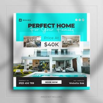 Post di instagram minimalista e banner di mobili per interni di immobili quadrati