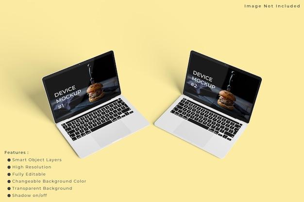 Modello minimalista dello schermo del laptop con sfondo di colore pastello