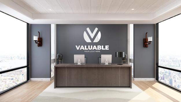 Logo minimalista mockup segno nella stanza dell'ufficio dell'hotel receptionist