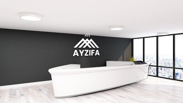 Mockup di ufficio logo minimalista in receptionist con muro nero
