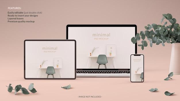 Mockup minimalista di tablet notebook e telefono elegante concetto