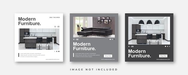 Modello di post sui social media per mobili moderni minimalisti