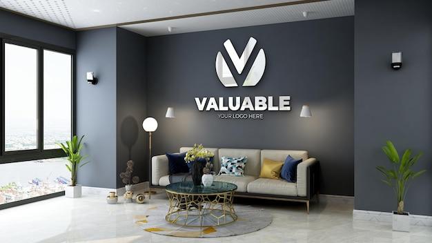 Mockup del logo della parete della sala d'attesa della hall dell'ufficio minimalista