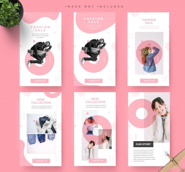 Modello di banner di vendita di moda minimalista rosa social media instagram storie