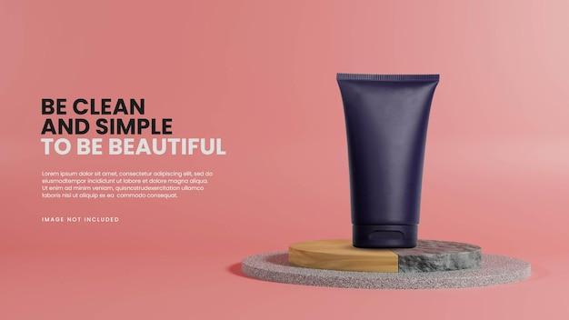 Modello di podio minimalista con roccia in legno e marmo