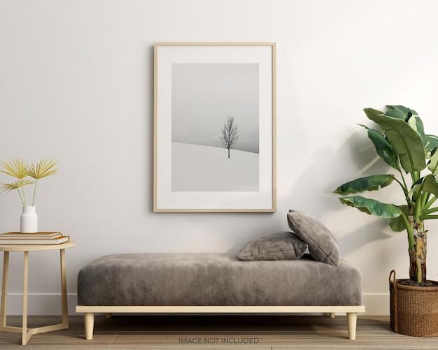 Cornice minimalista con foglie in vaso mockup