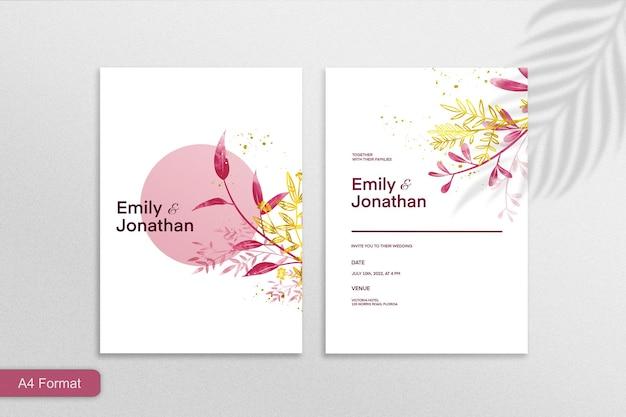 Modello di invito a nozze minimalista con fiore rosso e giallo su sfondo bianco