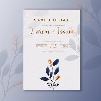 Invito a nozze minimalista con fiore blu