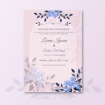 Invito a nozze minimalista con fiore azzurro